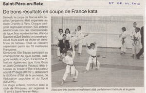 OUEST FRANCE - 06 AVRIL 2010 - CHAMPIONNAT DE FRANCE KATA - PARIS