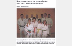 OUEST FRANCE - 28 SEPTEMBRE 2012 - STAGE PLURIDISCIPLINAIRE - SAINT MICHEL CHEF CHEF